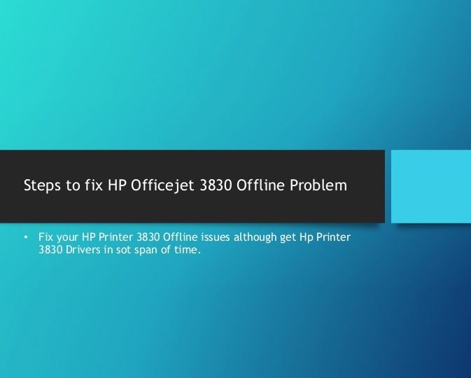 How to bring an offline HP OfficeJet 3830 to online
