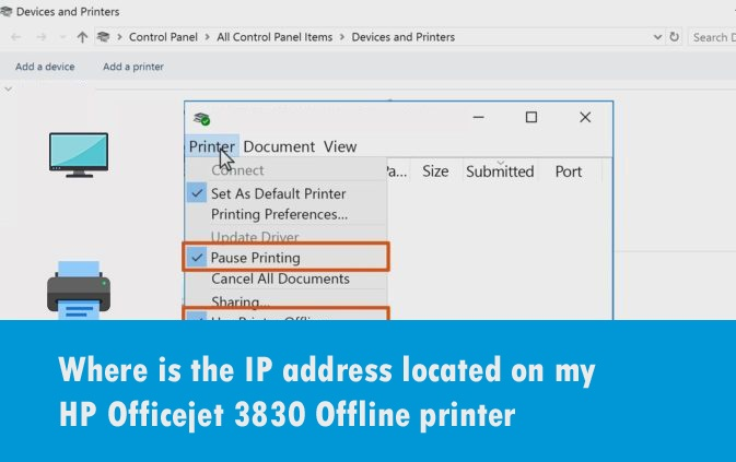 Where is the IP address located on my HP Officejet 3830 Offline printer