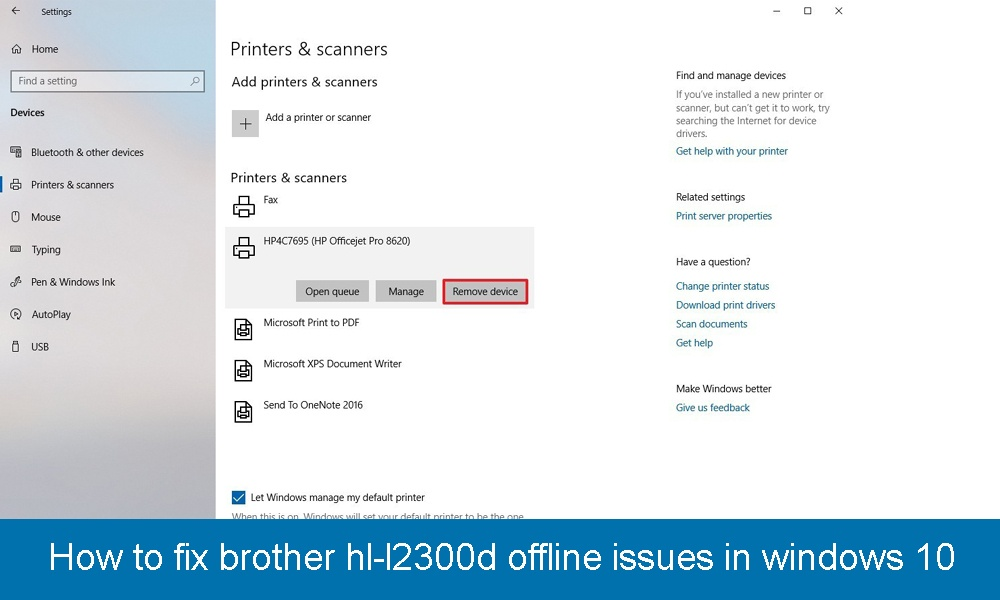 How to fix brother hl-l2300d offline issues in windows 10