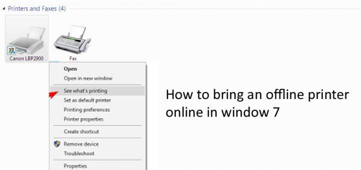 How to bring an offline printer online in window 7