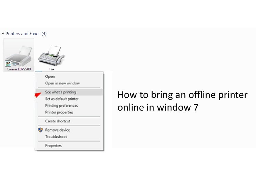 How to bring an offline printer online in window 7