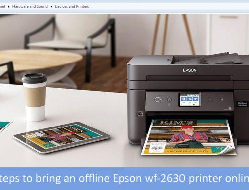 How do i get my Epson wf-2630 printer to go from offline to online