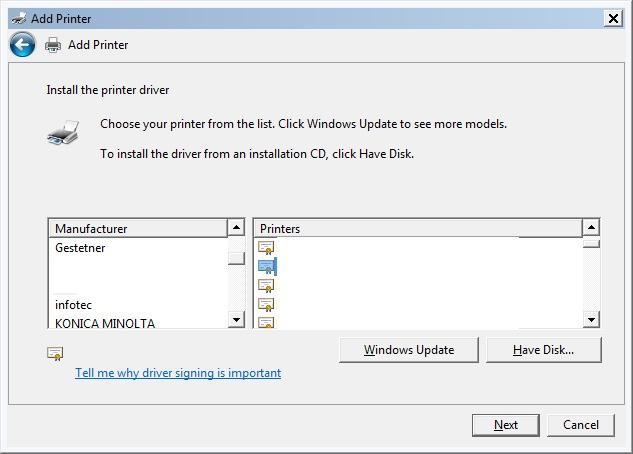 How do I Install the Drivers on Konica Minolta Printer in Windows 7