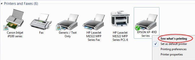 Why my Epson xp 410 printer shows error not printing